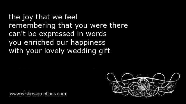 Wedding thank you poems for gifts